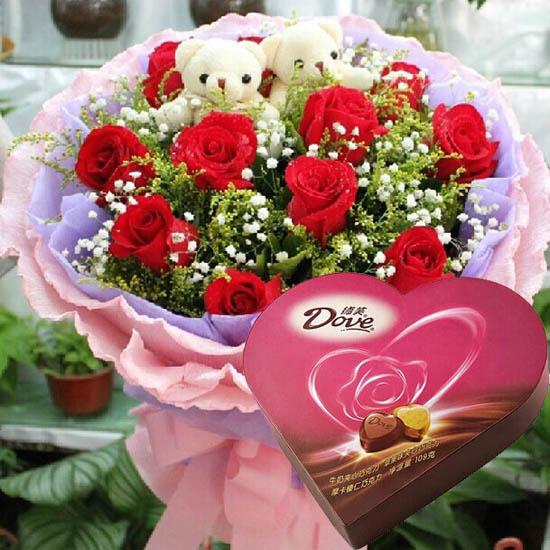 只为有你/11支红玫瑰+巧克力