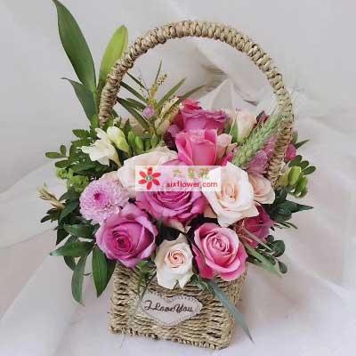 18朵玫瑰花篮,阳光灿烂
