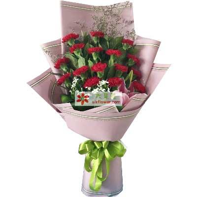 我永远爱您/16支红色康乃馨