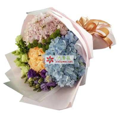 亲情的包围/12支玫瑰,桔梗一扎,绣球搭配