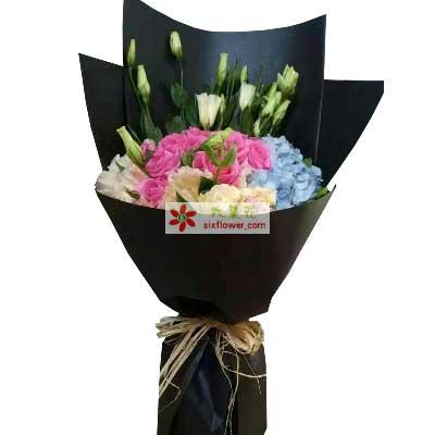 爱你是从未有过的感觉/20支玫瑰绣球花