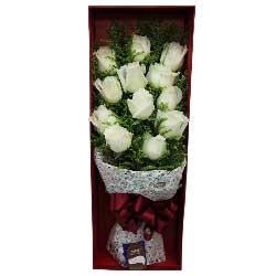 我的生命因你而精彩/12枝白色玫瑰礼盒