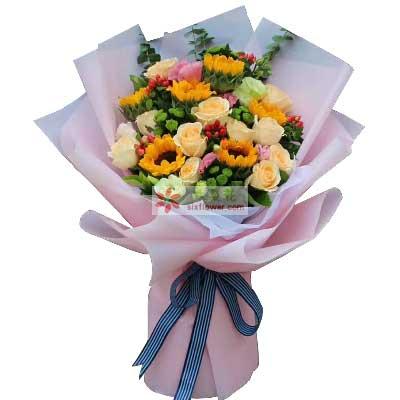 祝你心情愉悦/6支向日葵+玫瑰