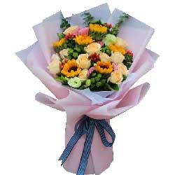祝你心情愉悦/6枝向日葵+玫瑰