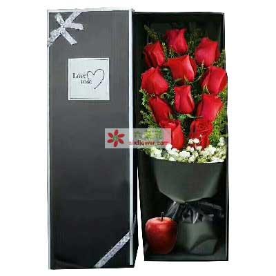 我愿为你付出我的全部/11支红色玫瑰+1个苹果