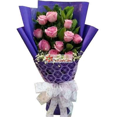 一心一意的爱你疼你/11支粉色玫瑰