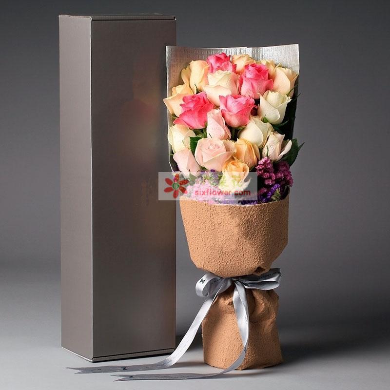 亲爱的我爱你/19支各色玫瑰