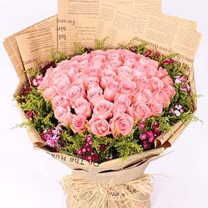 有你的感觉真好/66支粉玫瑰