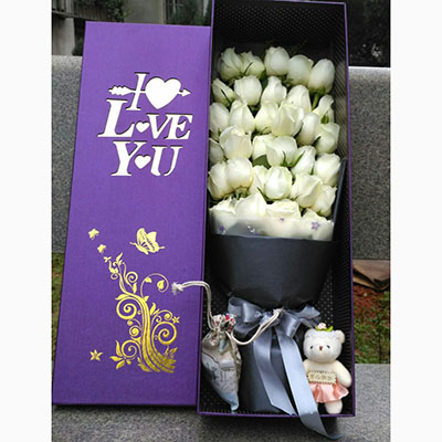 我很幸福/33枝白玫瑰花盒