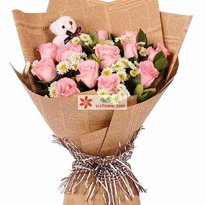 和你斯守/12枝粉玫瑰