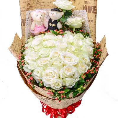 33支白玫瑰/水乳交融