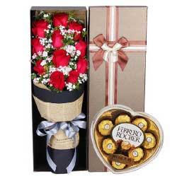 11枝玫瑰巧克力/我爱你不顾一切,胜过爱自己