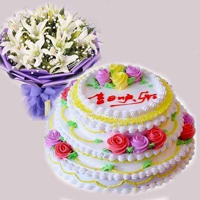 蛋糕、鲜花/生日快乐