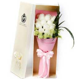 你是我最大的幸福/11枝白玫瑰礼盒