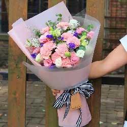 16枝粉色康乃馨/深深的爱