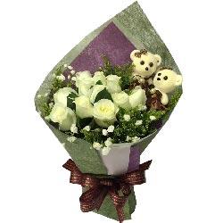 爱你是如此甜蜜/11枝白色玫瑰
