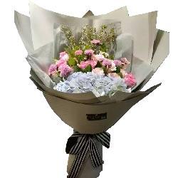 思念如秋天美妙/11枝粉色玫瑰,9枝香槟玫瑰