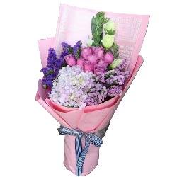 爱,莫相忘/9支粉色玫瑰,1个绣球花,白色桔梗
