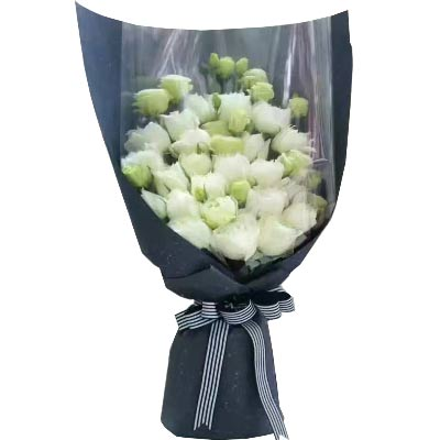 告慰在天之灵/25支白色玫瑰,11支白色桔梗