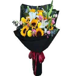 幸福在你身边/9枝向日葵、9枝玫瑰、2枝百合
