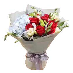 共同度过风风雨雨/11支红色玫瑰,1个蓝色绣球花