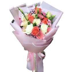今生爱你永不悔/6枝粉色玫瑰,5枝白色玫瑰