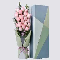 人生感触有你很好/19枝粉色玫瑰