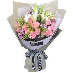 恩爱一生/17支粉色玫瑰,2支白色多头百合