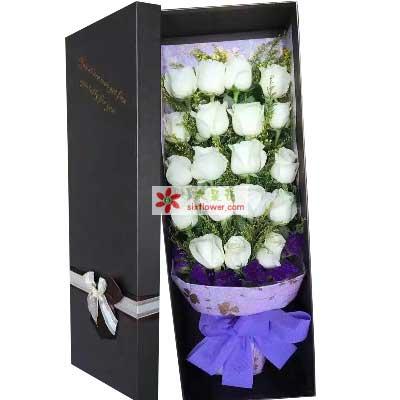 飘动的思念/19支白色玫瑰