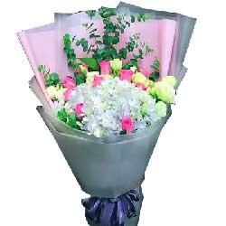 懂得爱的人/11支苏醒玫瑰,1只蓝色绣球花