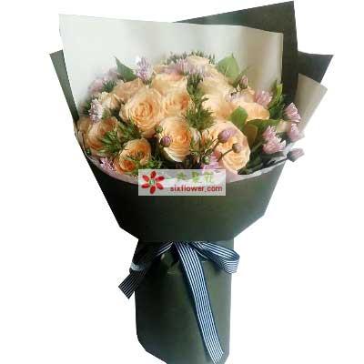 最诚挚的祝福/19支香槟玫瑰