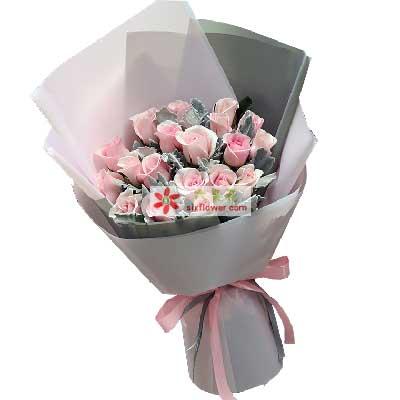 长长的思念/19支粉玫瑰