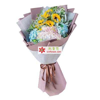 幸福/11枝向日葵绣球花