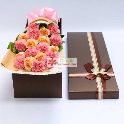 永远快乐/11支粉色康乃馨礼盒