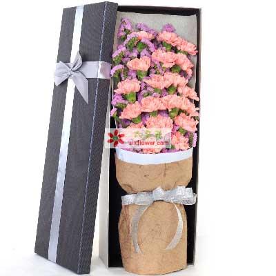 万千心意/19枝粉色康乃馨礼盒