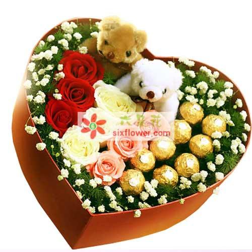 天天开心/9支玫瑰巧克力礼盒