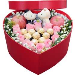 11支玫瑰巧克力,苹果礼盒,长盼共花前