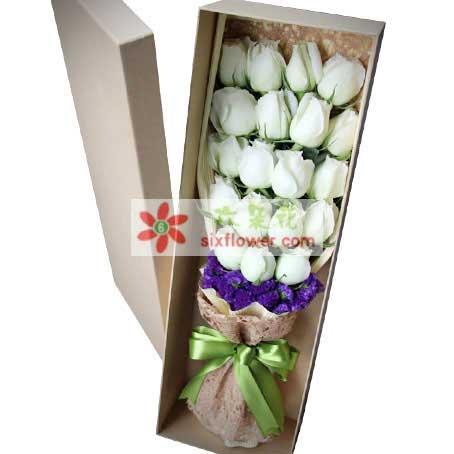 一生的幸福/19支白玫瑰礼盒