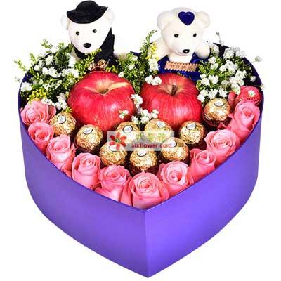 平安愉快/11枝玫瑰巧克力苹果礼盒