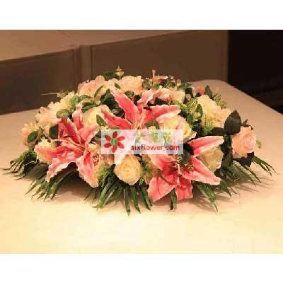 会议桌花/18枝香槟玫瑰