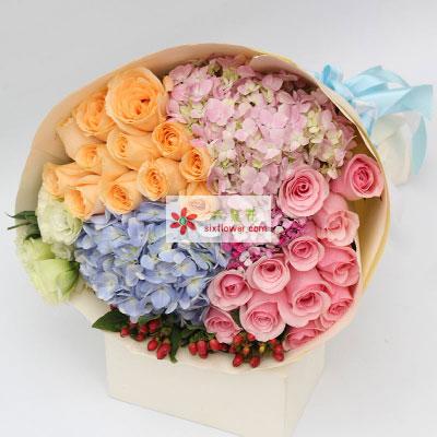 爱的温暖/24枝玫瑰+绣球花