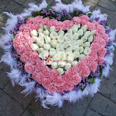 欢欢喜喜/50支粉色康乃馨玫瑰