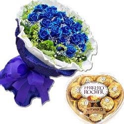 深深的爱/33枝蓝玫瑰巧克力