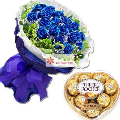 深深的爱/33支蓝玫瑰巧克力