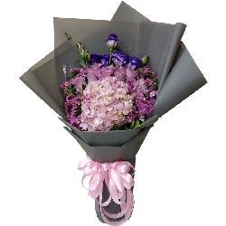美丽人生/11枝紫色玫瑰+绣球花