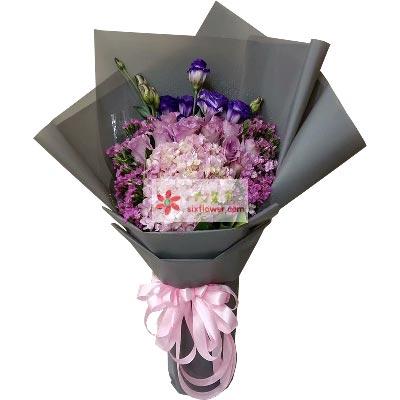 美丽人生/11支紫色玫瑰+绣球花