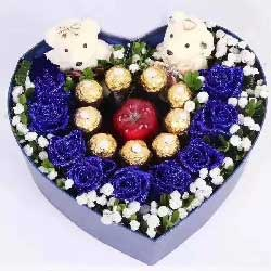 你我幸福长/9枝蓝色玫瑰巧克力苹果礼盒
