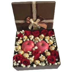 快乐一辈子/11支玫瑰巧克力苹果礼盒