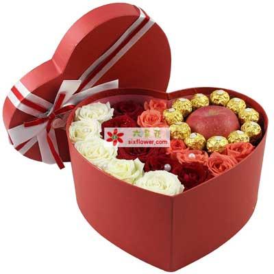 一生幸福-19枝玫瑰巧克力