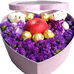 紫色勿忘我,苹果礼盒,我已为你沦陷